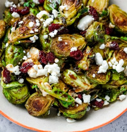 Brussels Sprouts with Cranberries and Goat Cheese