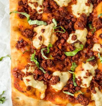 Vegan Chorizo & Mozzarella Pizza